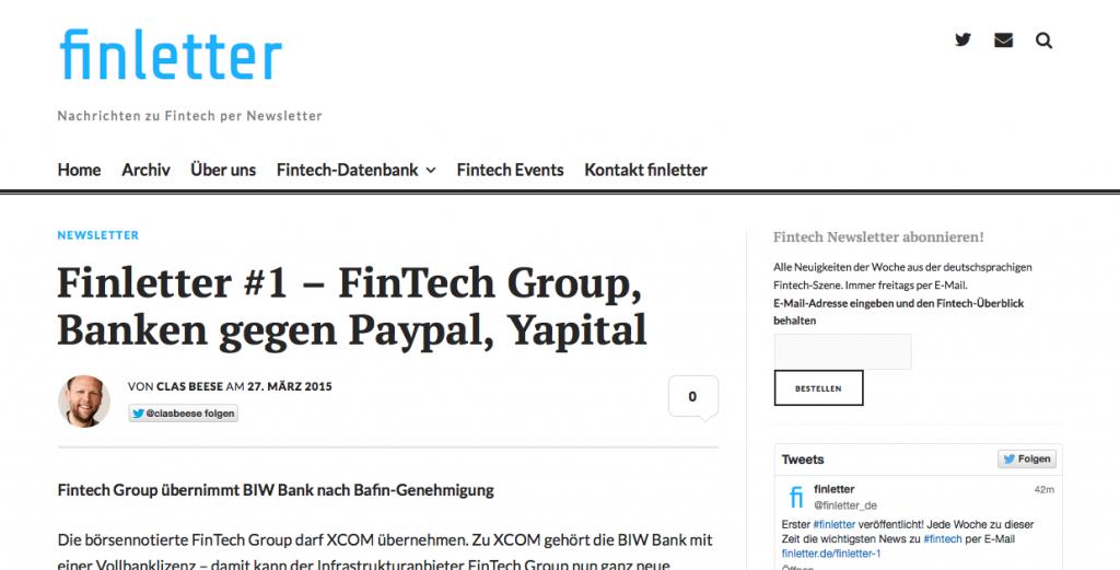 Dank finletter-Abo erhalten Sie alle Fintech-News der Woche kostenlos per E-Mail