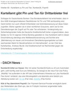 Screenshot von finletter, dem Fintech Newsletter