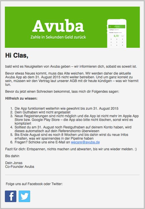 Screenshot der Kundenmail von Avuba