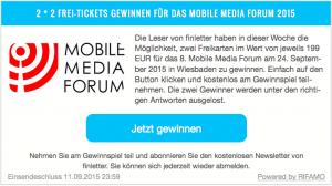 Ticketverlsoung auf finletter für das Mobile Media Forum Fintech