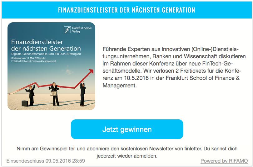 Verlosung Finanzdienstleister der nächsten Generation