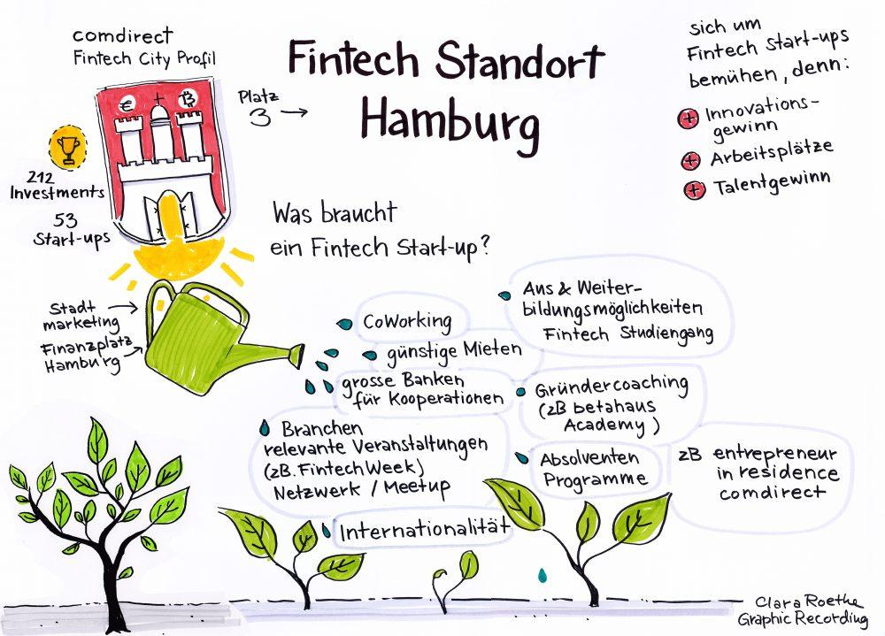 Übersicht der Fintechs in Hamburg. Gezeichnet auf dem Finanzbarcamp (Bild: clararoethe.de/ Fintech Week Hamburg)