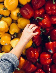 Supermarkt Gemüse Paprika Hand